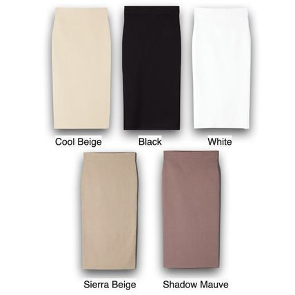 Plain Medium Office Style Elegant Style Midi Skirts