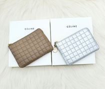 CELINE Plain Leather Long Wallet  Small Wallet Logo Coin Cases