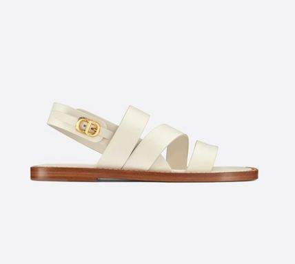 Christian Dior Logo Open Toe Casual Style Unisex Leather Sandals
