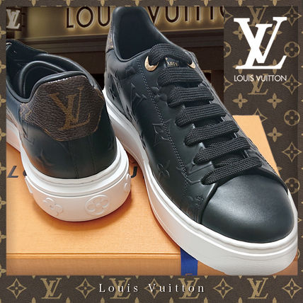 Louis Vuitton Monogram Plain Toe Rubber Sole Casual Style Blended Fabrics