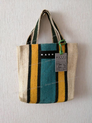 Stripes Casual Style A4 Logo Totes