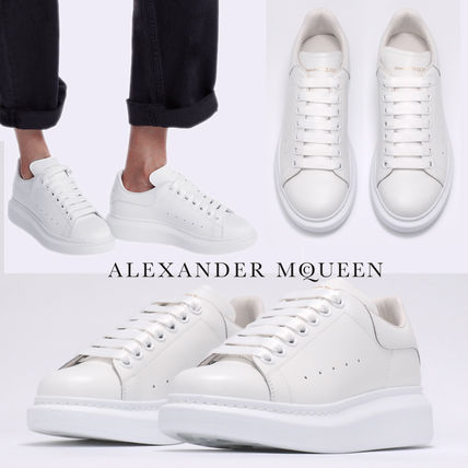 alexander mcqueen Platform Lace-up Casual Style Unisex Plain Leather