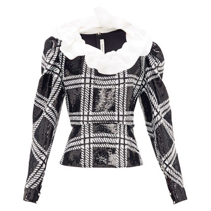 Other Plaid Patterns Silk Long Sleeves Elegant Style