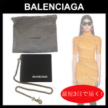 BALENCIAGA Lambskin Street Style Chain Plain Leather Folding Wallet