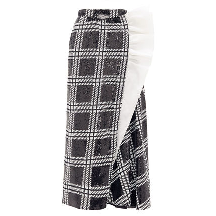 Pencil Skirts Other Plaid Patterns Silk Long Elegant Style