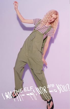 Dungarees Casual Style Street Style Plain Long Front Button