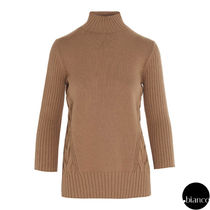Max Mara Studio Cable Knit Rib Cropped Medium High-Neck Elegant Style