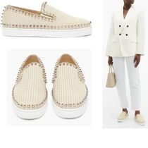 Christian Louboutin PIK BOAT Round Toe Casual Style Studded Plain Office Style