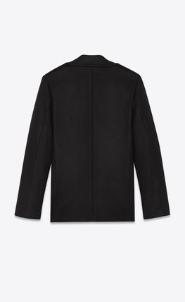 Saint Laurent Short Unisex Wool Plain Peacoats Coats