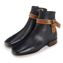 LOEWE Square Toe Casual Style Street Style Plain Leather