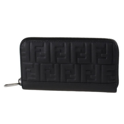 FENDI Monogram Leather Long Wallet  Logo Long Wallets