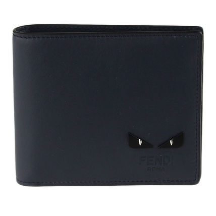 FENDI Plain Leather Folding Wallet Logo Folding Wallets