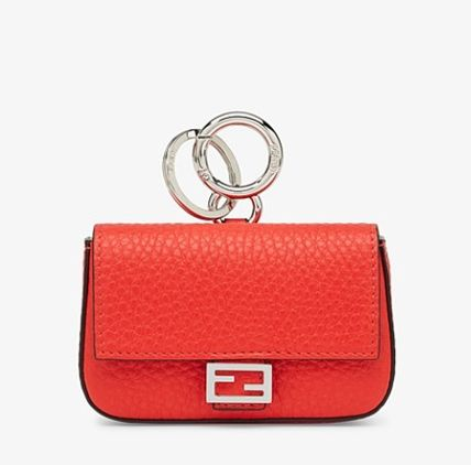 FENDI SELLERIA Calfskin Plain Logo Card Holders