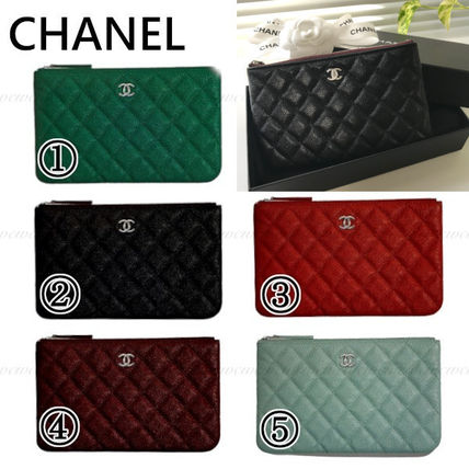 CHANEL Calfskin Pouches & Cosmetic Bags