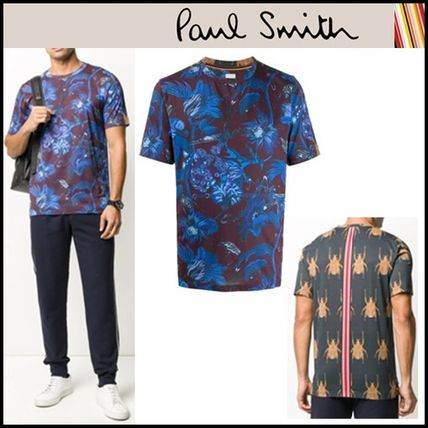 Paul Smith Crew Neck Crew Neck Pullovers Stripes Flower Patterns