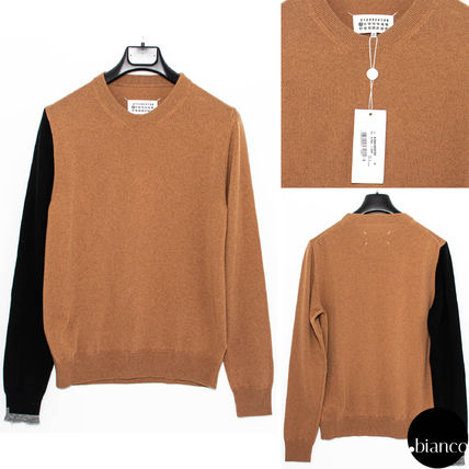 Maison Margiela Sweaters Crew Neck Pullovers Cashmere Street Style Bi-color