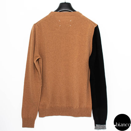 Maison Margiela Sweaters Crew Neck Pullovers Cashmere Street Style Bi-color 4