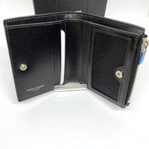 Saint Laurent Unisex Plain Leather Folding Wallet Folding Wallets