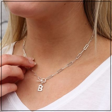 Casual Style Blended Fabrics Initial Flower Silver 18K Gold