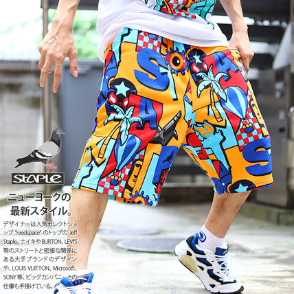 Staple More Shorts Printed Pants Tropical Patterns Unisex Street Style 3