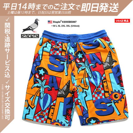 Staple More Shorts Printed Pants Tropical Patterns Unisex Street Style