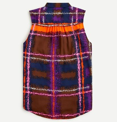 Other Plaid Patterns Casual Style Sleeveless Office Style
