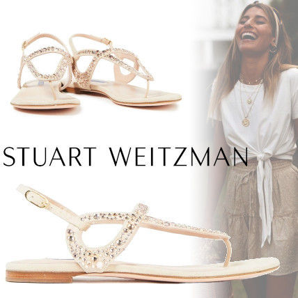 Open Toe Casual Style Plain With Jewels Elegant Style