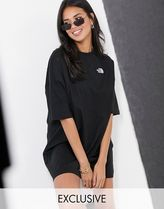THE NORTH FACE Street Style Cotton Short Sleeves Oversized Logo Dresses