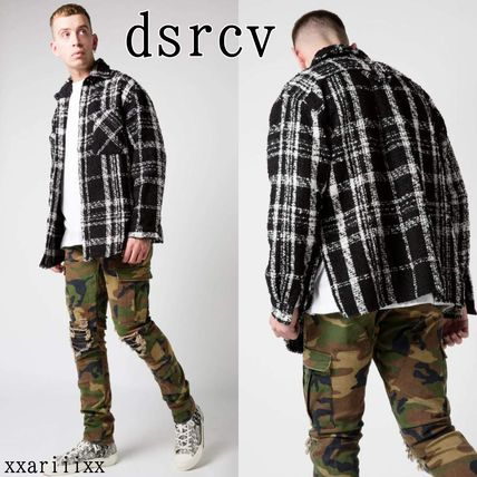 Other Plaid Patterns Wool Street Style Long Sleeves Shirts