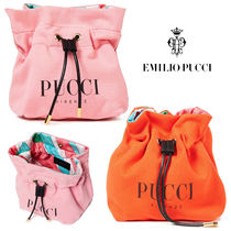 Emilio Pucci Canvas Leather Logo Pouches & Cosmetic Bags