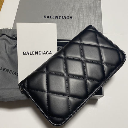 BALENCIAGA Unisex Leather Long Wallet  Logo Long Wallets