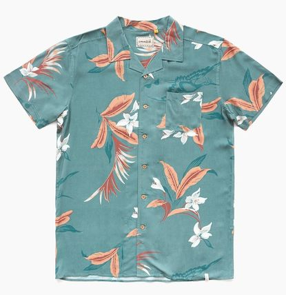 Button-down Flower Patterns Tropical Patterns Unisex