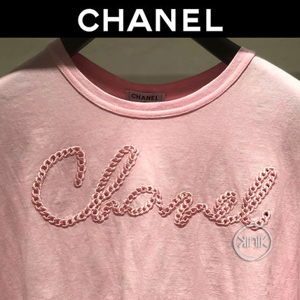 CHANEL Cotton Short Sleeves Logo T-Shirts