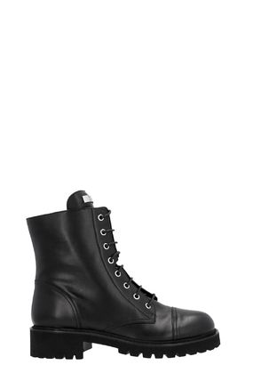 Plain Leather Mid Heel Boots