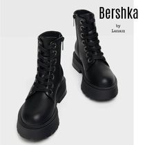 Bershka Platform Lace-up Casual Style Plain Leather Lace-up Boots