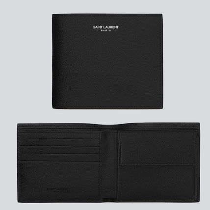 Saint Laurent Folding Wallet Logo Unisex Calfskin Blended Fabrics