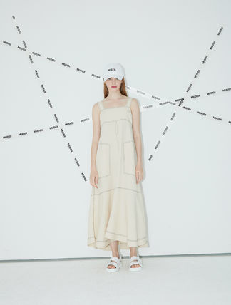Casual Style Maxi A-line Linen Sleeveless Flared Studded