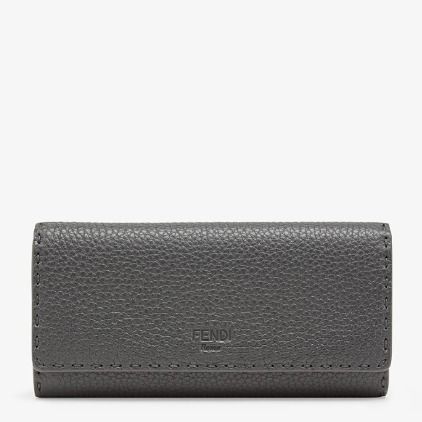 FENDI SELLERIA Calfskin Plain Folding Wallet Logo Long Wallets