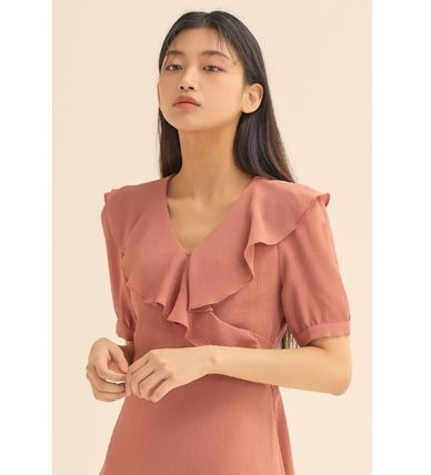 Wrap Dresses Short Casual Style A-line Flared V-Neck Plain