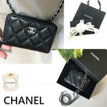 CHANEL Calfskin Chain Plain Leather Logo Coin Cases