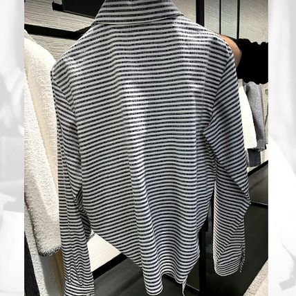 CHANEL ICON Stripes Casual Style Long Sleeves Cotton Medium Party Style