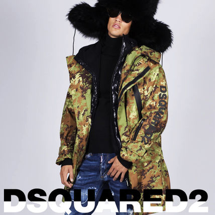 D SQUARED2 Camouflage Long Oversized Logo Gore-Tex Down Jackets