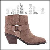 See by Chloe Round Toe Casual Style Suede Plain Block Heels Logo