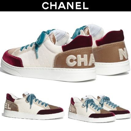 CHANEL Logo Platform Plain Toe Lace-up Casual Style Velvet Plain
