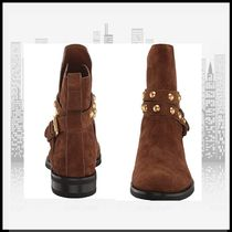 See by Chloe Round Toe Rubber Sole Casual Style Suede Studded Plain