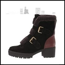 See by Chloe Round Toe Rubber Sole Casual Style Suede Plain Logo