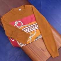 HERMES Casual Style Cashmere Long Sleeves Medium Elegant Style