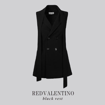 RED VALENTINO Casual Style Plain Medium Party Style Vest Jackets