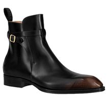 Louis Vuitton Street Style Plain Leather V Tips Engineer Boots