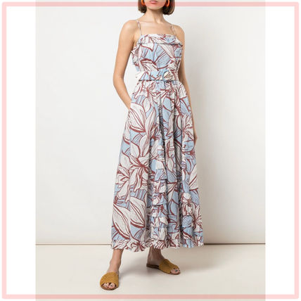 Flower Patterns Casual Style Flared Cotton Party Style